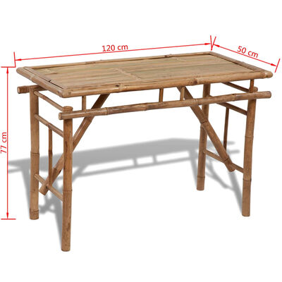 vidaXL Tuintafel inklapbaar 120x50x77 cm bamboe
