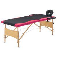 vidaXL Massagetafel inklapbaar 2 zones hout zwart en roze
