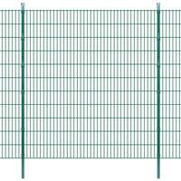vidaXL Dubbelstaafmatten en palen 2008x2230 mm 14 m groen