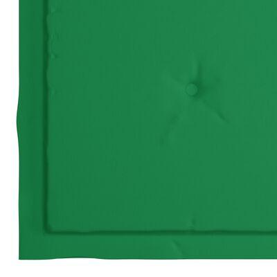 vidaXL Tuinstoelen 4 st met groene kussens massief teakhout