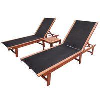 vidaXL Ligbedden 2 st met tafel massief acaciahout en textileen