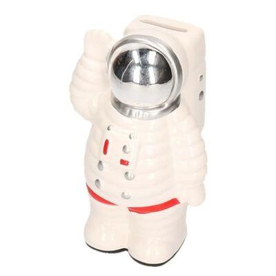Spaarpot astronaut wit van keramiek 18 cm - Astronauten/ruimte/space