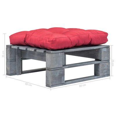 vidaXL Tuinpoef met rood kussen pallet hout grijs