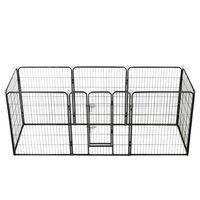 vidaXL Hondenren met 8 panelen 80x100 cm staal zwart