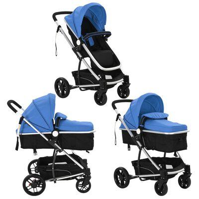 vidaXL Kinderwagen 2-in-1 aluminium blauw en zwart