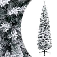 vidaXL Kunstkerstboom met sneeuwvlokken smal 240 cm PVC groen