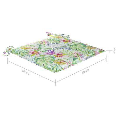 vidaXL Tuinstoelen 4 st met bladpatroon kussens massief teakhout