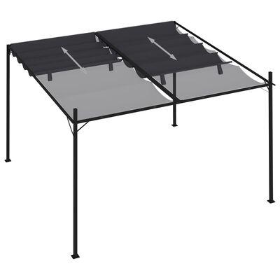 vidaXL Prieel met uittrekbaar dak 300x300x233 cm antracietkleurig