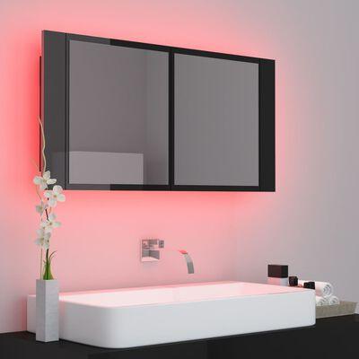 vidaXL Badkamerkast met spiegel en LED 90x12x45 cm hoogglans zwart