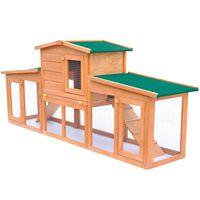 vidaXL Konijnenhok voor buiten met daken groot hout