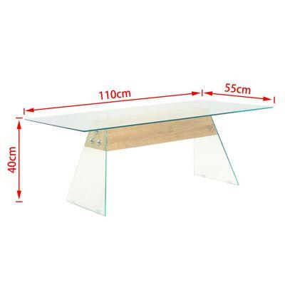 vidaXL Salontafel 110x55x40 cm MDF en glas eikenkleur