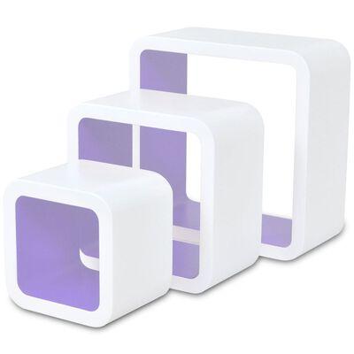 Wandplanken kubus MDF zwevend voor boeken/dvd 3 st wit-paars