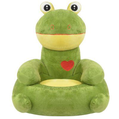 vidaXL Pluche kinderstoel kikker groen