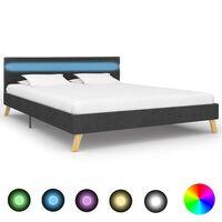 vidaXL Bedframe met LED stof donkergrijs 160x200 cm