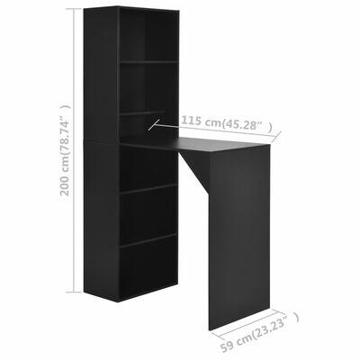 vidaXL Bartafel met kast 115x59x200 cm zwart