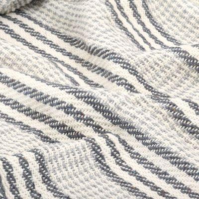vidaXL Plaid strepen 220x250 cm katoen grijs en wit