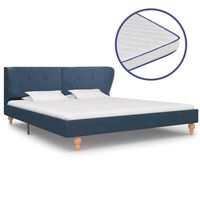 vidaXL Bed met traagschuim matras stof blauw 180x200 cm