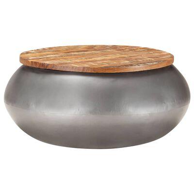 vidaXL Salontafel 68x68x30 cm massief gerecycled hout grijs