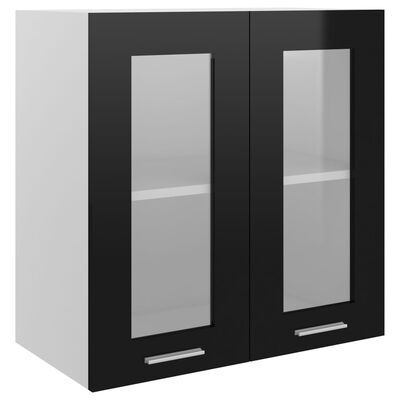 vidaXL Hangkast 60x31x60 cm spaanplaat hoogglans zwart