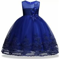 Ip Feestjurk Kids Kort Mouwloos Bloem Applicatie Kobalt Blauw (6 Kl...