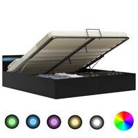 vidaXL Bedframe met opslag hydraulisch LED kunstleer zwart 160x200 cm