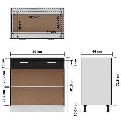 vidaXL Onderkast met lade 80x46x81,5 cm spaanplaat zwart