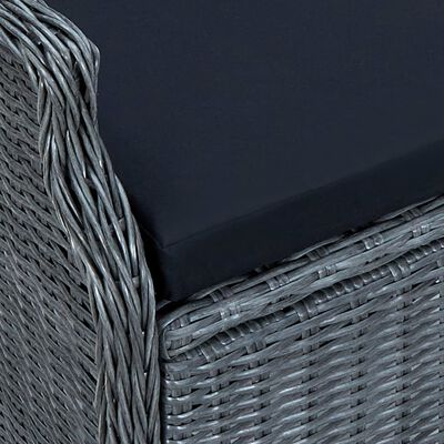 vidaXL 3-delige Loungeset met kussens poly rattan donkergrijs