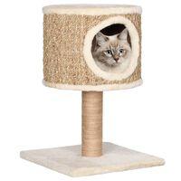 vidaXL Kattenmeubel met huis en krabpaal 52 cm zeegras