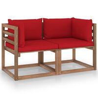 vidaXL Tuinbank 2-zits pallet met rode kussens grenenhout