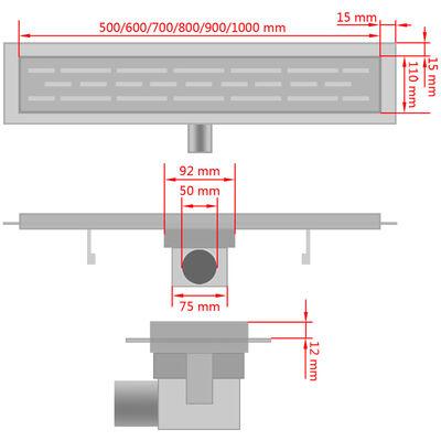 vidaXL Douchegoot rechthoekig golf 630x140 mm roestvrij staal