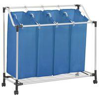 vidaXL Wassorteerder met 4 zakken staal blauw