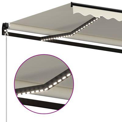 vidaXL Luifel handmatig uittrekbaar met LED 500x300 cm crèmekleurig