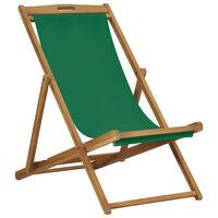 vidaXL Strandstoel inklapbaar massief teakhout groen