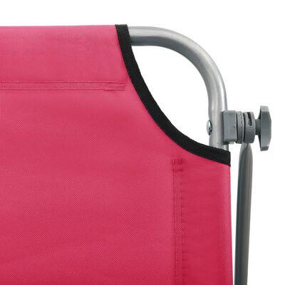 vidaXL Ligbed met luifel staal roze