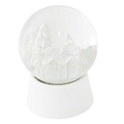 Sneeuwbol | Ø 5*6 cm | Wit | Polyresin / glas | rond | kerk-spar |