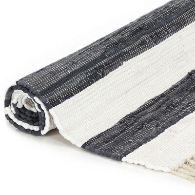 vidaXL Vloerkleed chindi handgeweven 160x230 cm katoen antraciet wit