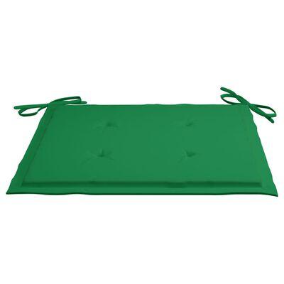vidaXL Tuinstoelen 6 st met groene kussens massief teakhout