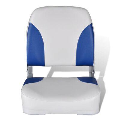 Opklapbare bootstoel met blauw-wit kussen 41 x 36 x 48 cm,