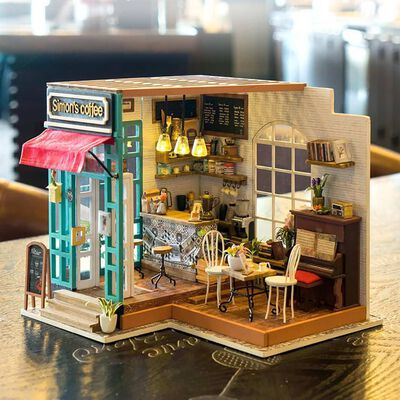 Robotime Miniatuur knutselset Simon's Coffee met LED-verlichting