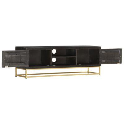 vidaXL Tv-meubel 120x30x40 cm massief mangohout zwart en goudkleurig