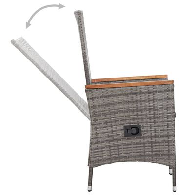 vidaXL 9-delige Tuinset met kussens poly rattan grijs