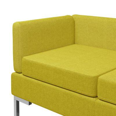 vidaXL 7-delig Bankstel stof geel