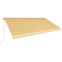 vidaXL Luifel automatisch uittrekbaar 600x300 cm geel en wit