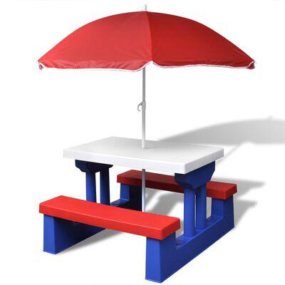 vidaXL Kinderpicknicktafel met banken en parasol meerkleurig