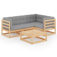 vidaXL 5-delige Loungeset met kussens massief grenenhout