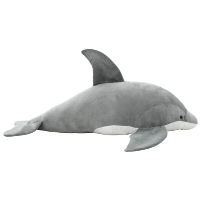 vidaXL Knuffel dolfijn pluche grijs