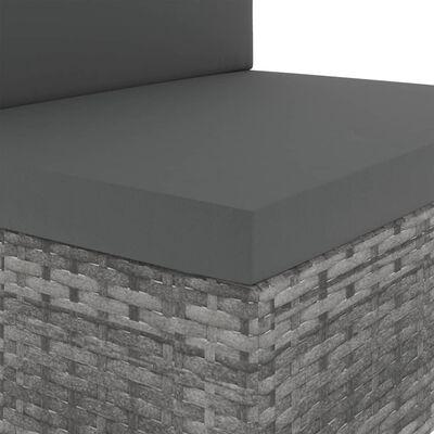 vidaXL Tweezitsbank sectioneel poly rattan grijs