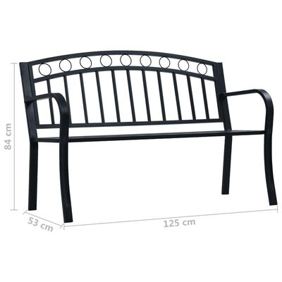 vidaXL Tuinbank 125 cm staal zwart