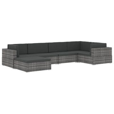 vidaXL Middenbank 1 st met kussens poly rattan grijs