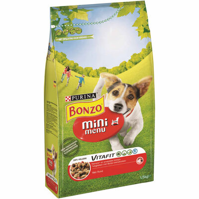 Hondenvoer Bonzo Mini Menu Met Rund 3x1.5kg Purina,